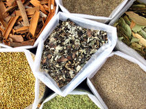 Indian Spices. Bags filled with various cooking spices Stock Photos