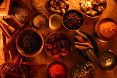 Indian spices. Different indian spices table top Stock Photos