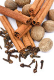 Indian spices. Nutmeg, cinnamon sticks and cloves isolated on white background Royalty Free Stock Images