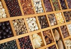 Indian Spices, Beans and Seeds. Close-up of spices, beans and seeds in a wooden frame Stock Image