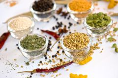 Indian Spices. In Bowl Cardamom royalty free stock photos