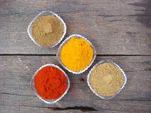 Indian spices and bowl on rusted wooden. Indian grinded spices in the crystal bowl Stock Images
