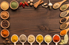 Indian spices and dried herbs background - Top view royalty free stock photos