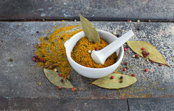 Indian spices on grunge background Stock Photos
