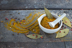Indian spices on grunge background. Indian spices curry on grunge abstract background Stock Photo