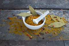 Indian spices on grunge background. Indian spices curry on grunge abstract background Royalty Free Stock Images