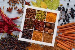 Indian spices and herbs in the box on the gray table: anise, fragrant pepper, cinnamon, nutmeg, bay leaves, paprika close up. Ingredients for tasty food. Top stock photos