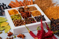 Indian spices and herbs in the box on the gray table: anise stars, fragrant pepper, cinnamon, nutmeg, bay leaves, paprika close up. Ingredients for tasty food royalty free stock image