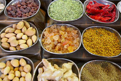 Indian spices and nuts Stock Photos