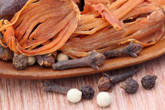 Indian spices with a wooden spoon Stock Photography