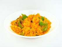 Indian spicy Shrimp fried Rice. Stock Photos