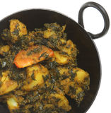Indian Spinach & Potato Curry (Sag Aloo). Indian vegetable curry with spinach and potato (sag aloo Royalty Free Stock Image