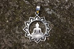 Indian spiritual ornamental style silver pendant royalty free stock images