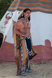 Indian. Stands about his teepee stock photo
