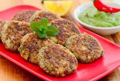 Indian starter- kuttu ki tikki or buckwheat cutlets. Kuttu ki tikki or buckwheat cutlets is an indian starter which is eaten during long periods of fasting.It is Royalty Free Stock Images