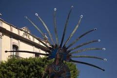 Indian Statue Public Plaza Queretaro Mexico stock images