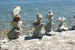 Indian stone sculptures. On lake Ontario shore Royalty Free Stock Photos