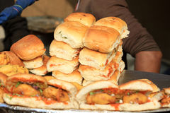 Indian street food. Beautiful shot of indian street food vada pav Royalty Free Stock Photo