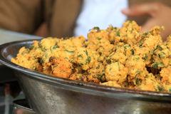 Indian street food. Beautiful shot of indian street food veg pakoras Royalty Free Stock Photography