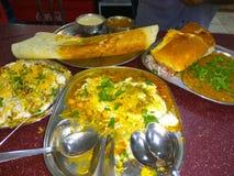 Indian Street food. Dosa, paobhaji, chat stock photos