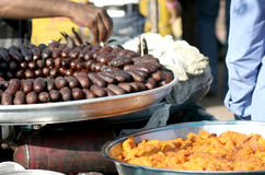 Indian street food-jamun and halwa Stock Photography