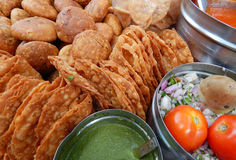 Indian street food kachori and chat Royalty Free Stock Photo