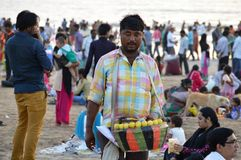Indian Street Food Seller on the beach Royalty Free Stock Image