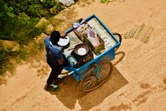 An Indian street food sellers isolated unique photo. A young street food sellers in Bangalore India isolated unique editorial photo stock image