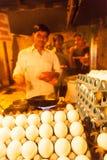 Indian street food vendor preparing omelet Royalty Free Stock Photo