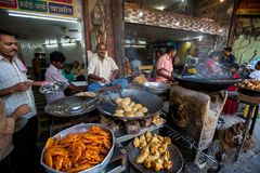Indian street food vendors near the holy Ganges river. Stock Image