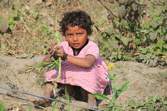 Indian Street Kid playing on a field Royalty Free Stock Photos