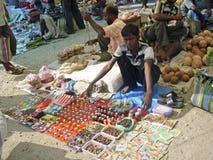 Indian street market stock photos