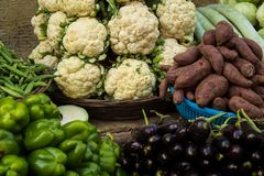 Indian street market: colorful fruits and vegetables; roads of M stock photo