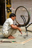 Indian street repair bicycles in Ahmedabad. Photographing October 25, 2015 in Ahmedabad India Royalty Free Stock Image