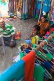 Indian street textile shop Stock Photos