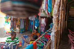 Indian street textile shop Royalty Free Stock Images
