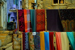 Indian street. This is typical street of historical Jaipur, showing lifestyle and handicrafts, Rajasthan, India Stock Photo