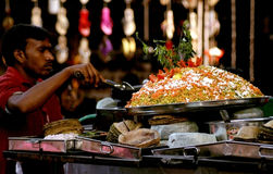 Indian street vendor make fast food Royalty Free Stock Images