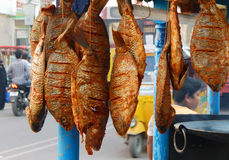 Indian street vendor sell fish fry food Stock Image