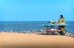 Indian street vendor of  snacks with wheel cart Royalty Free Stock Image