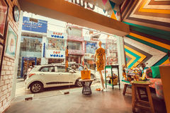Indian street view from the modern fashion store with showcase and vintage design Stock Images