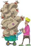 An indian street worker draws. Really heavy wheelbarrow full of sacks. Cartoon. Caricature stock illustration