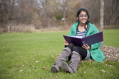 Indian student in outdoor Royalty Free Stock Photo