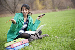 Indian student in outdoor Royalty Free Stock Image