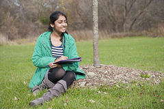 Indian student in outdoor Stock Photo