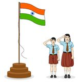 Indian student saluting flag of India Stock Images