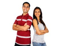 Indian students. Two young Indian students isolated on white Stock Photos