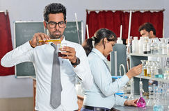 Indian Students In Chemistry Laboratory Royalty Free Stock Image
