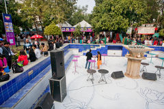 Indian students and other visitors have rest at food court of the ZEE Jaipur Literature Festival Stock Photo