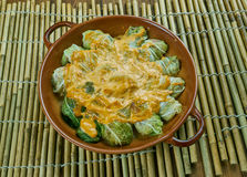 Indian stuffed  curry cabbage. With brown rice and vegetables - Bandh gobi ki rolls Royalty Free Stock Photos